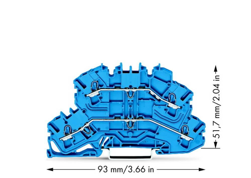 Dobbeltlags-gennemgangsklemme 5.20 mm Trækfjeder Belægning: N, N Blå WAGO 2002-2604 50 stk