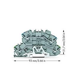 Dobbeltlags-beskyttelseslederklemme 5.20 mm Trækfjeder Belægning: Terre, N Grå WAGO 2002-2647 25 stk