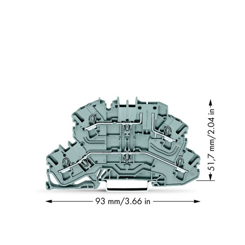 Dobbeltlags-basisklemme 5.20 mm Trækfjeder Belægning: L, L Grå WAGO 2002-2661 25 stk