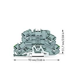 Dobbeltlags-beskyttelseslederklemme 5.20 mm Trækfjeder Belægning: Terre, L Grå WAGO 2002-2667 25 stk
