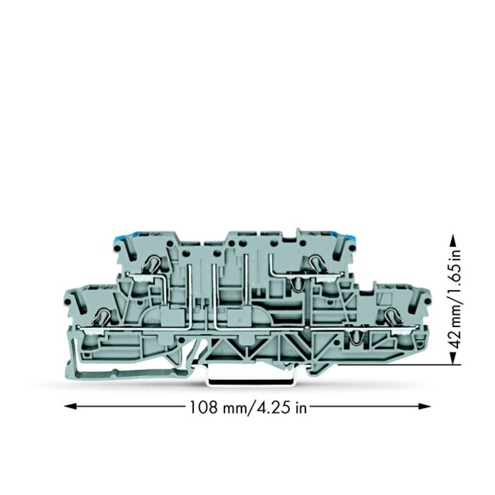 Dobbeltlags-basisklemme 5.20 mm Trækfjeder Belægning: L, N Grå WAGO 2002-2963 50 stk