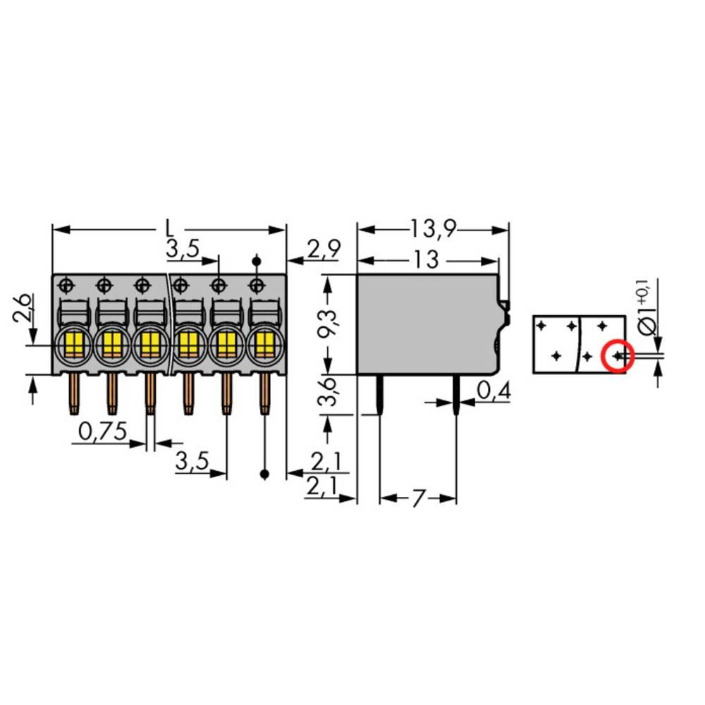 Fjederkraftsklemmeblok WAGO 1 mm² Poltal 6 Grå 120 stk
