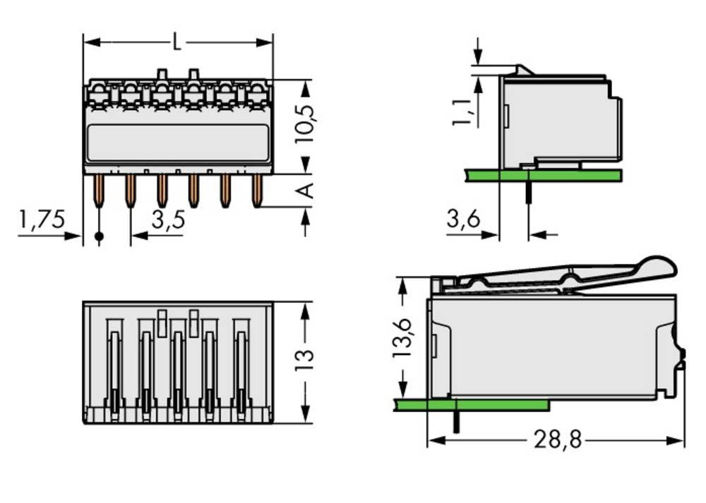 Stiftkabinet-printplade 2091 Samlet antal poler 2 WAGO 2091-1322 Rastermål: 3.50 mm 200 stk