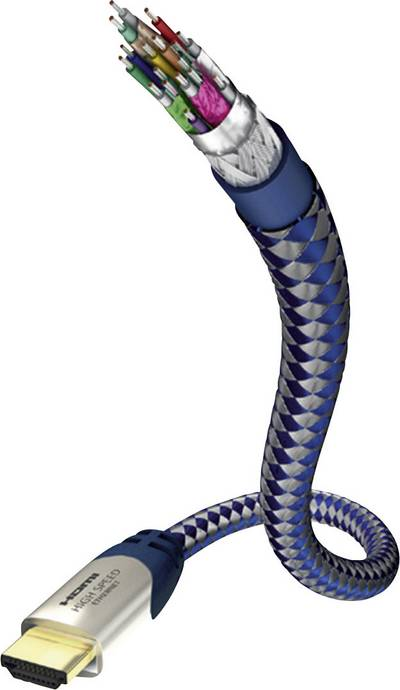 Inakustik HDMI Cable [1x HDMI plug – 1x HDMI plug] 10 m Silver-blue