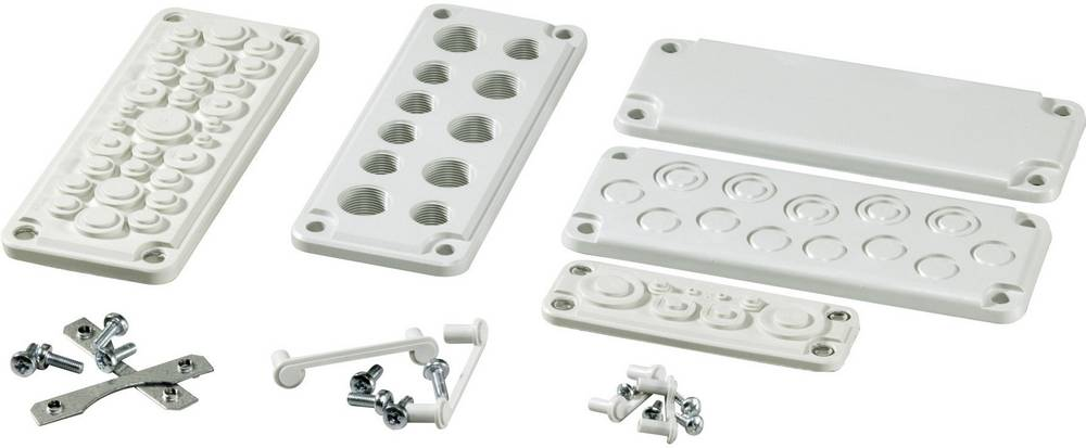 Uvodna plošča termoplast svetlo siva (RAL 7035) Fibox FMC 35F-SET 1 kos