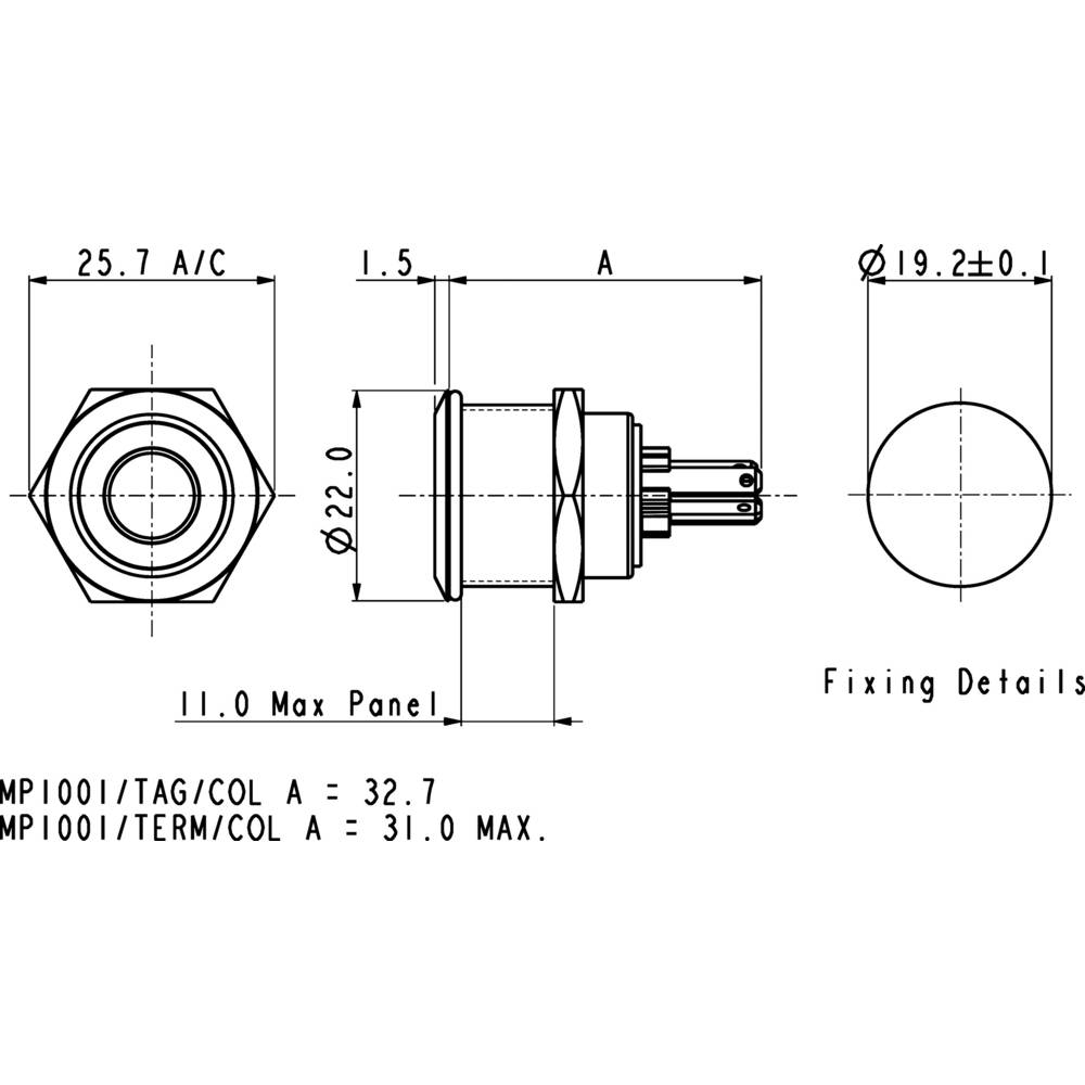 Bulgin Mpi002 28 Gn Tamper Proof Pushbutton 24 Vdc 005 A 1 X Off Wiring Diagram Plug On Ip66 Momentary Pcs