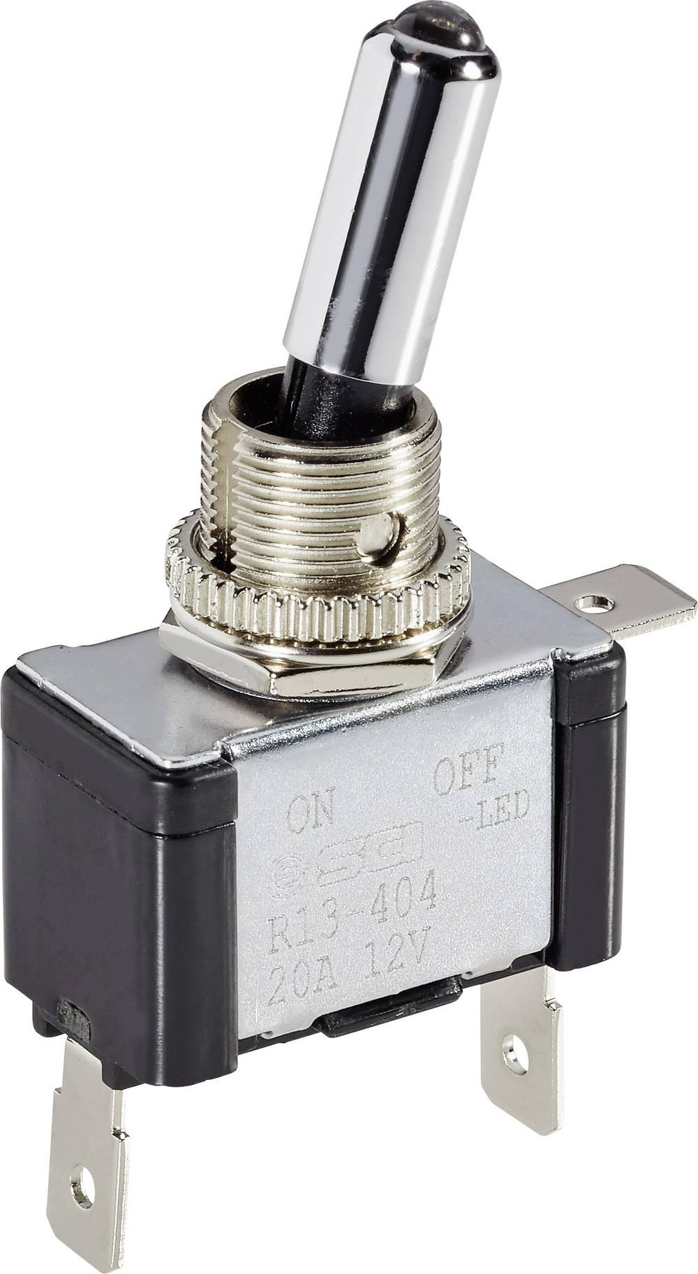 Avtomobilsko prevesno stikalo 12 V/DC 20 A 1 x izklop/vklop zaskočno TRU Components TC-R13-404L BL LED 1 kos