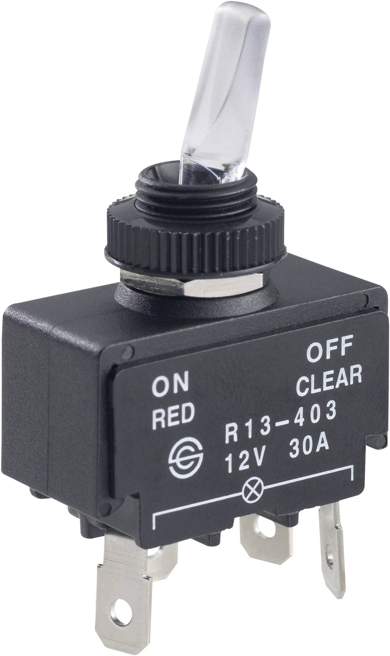 SCI R13-403A Toggle switch 12 Vdc 30 A 1 x Off/On latch 1 pc(s ... on
