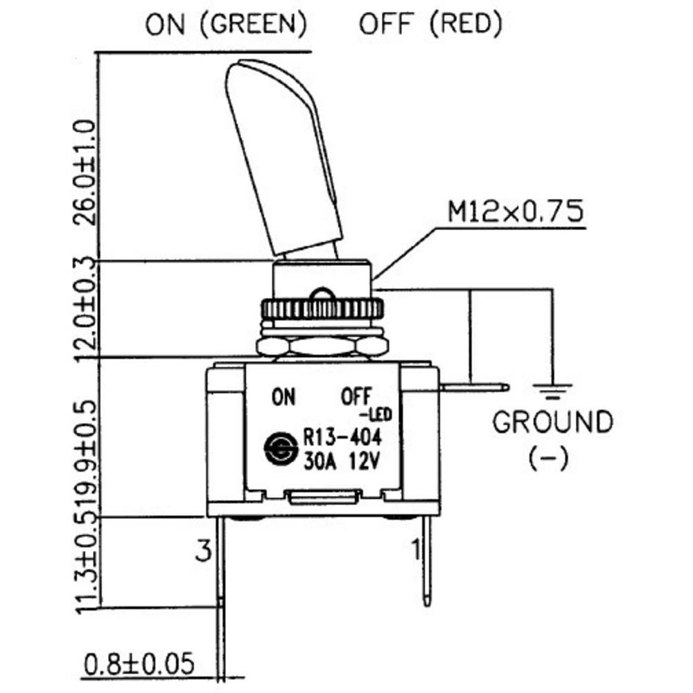 SCI R13-404AL2 Toggle switch 12 Vdc 30 A 1 x Off/On latch 1 pc(s)