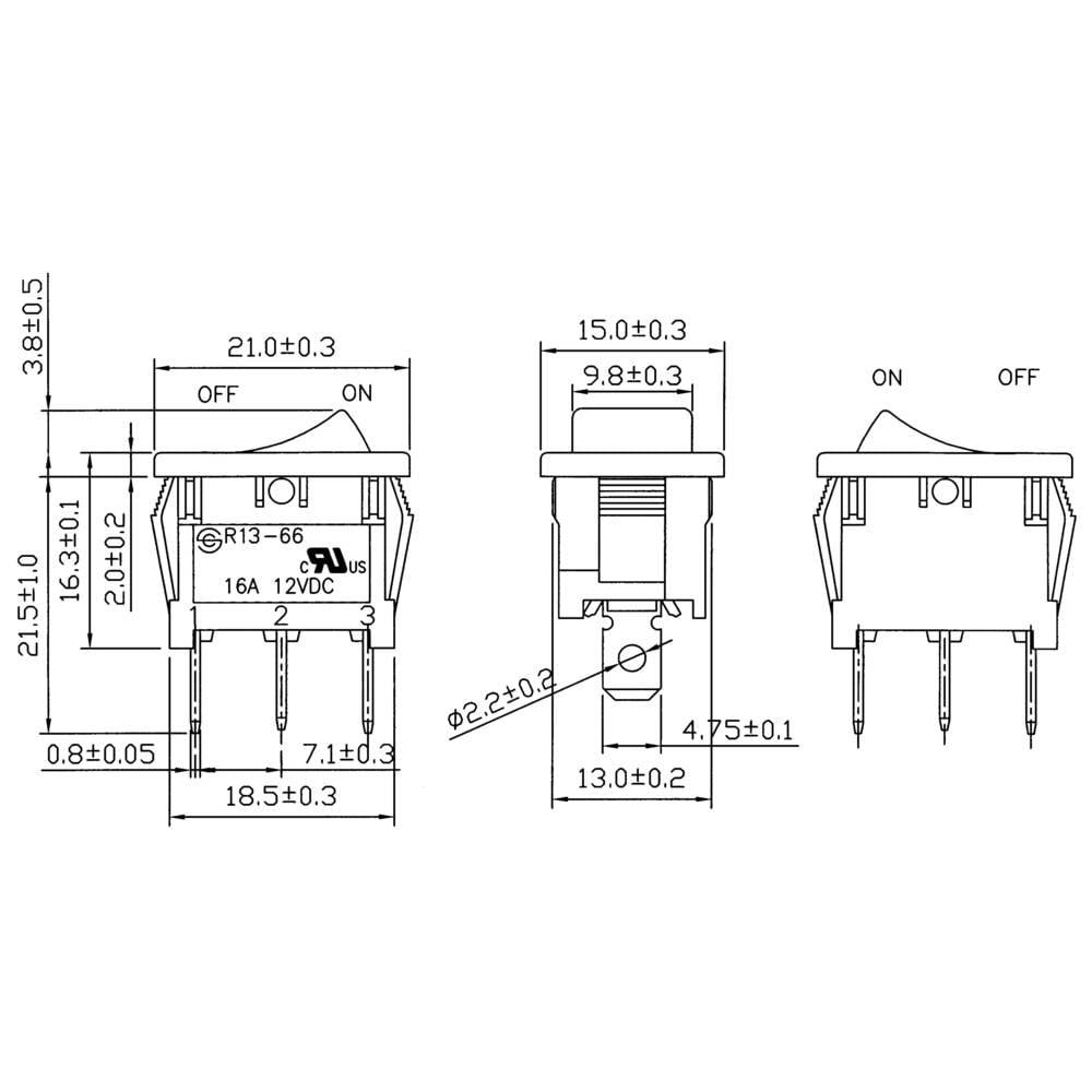 Sci Toggle Switch R13 66b 02 Led 12v Dc 12 Vdc 16 A 1 X Off On Latch Rocker Wiring Diagram 2 Pcs