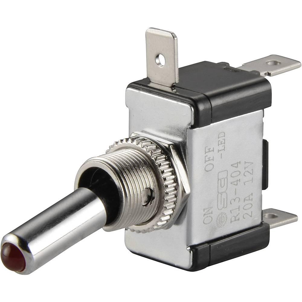 Vippeafbryder til bil TRU COMPONENTS TC-R13-404-SQ RED 12 V/DC 20 A 1 x Off/On Klikkende 1 stk