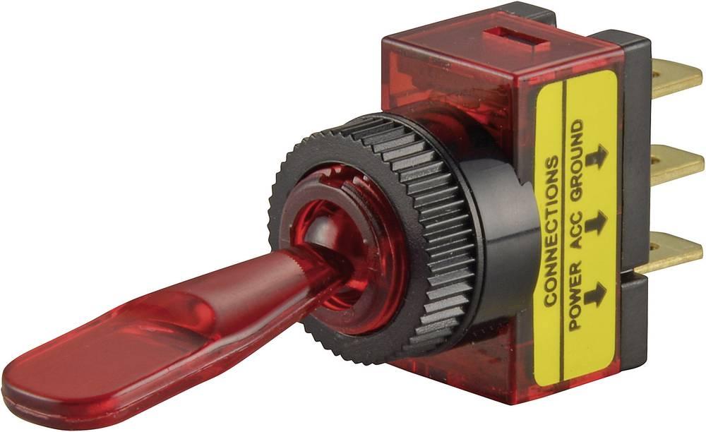 SCI Avtomobilsko prevesno stikalo, 20 A R13-61B osvetljeno rdeče vklop/izklop 12 V/DC 20 A