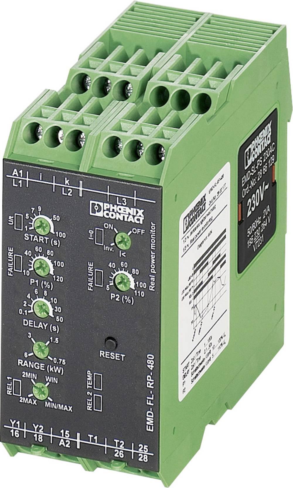 Nadzorni rele 2 izmenjevalnika 1 kos Phoenix Contact EMD-FL-RP-480 1-fazni, 3-fazni, podobremenilni, nad-obremenilni, pomnilnik