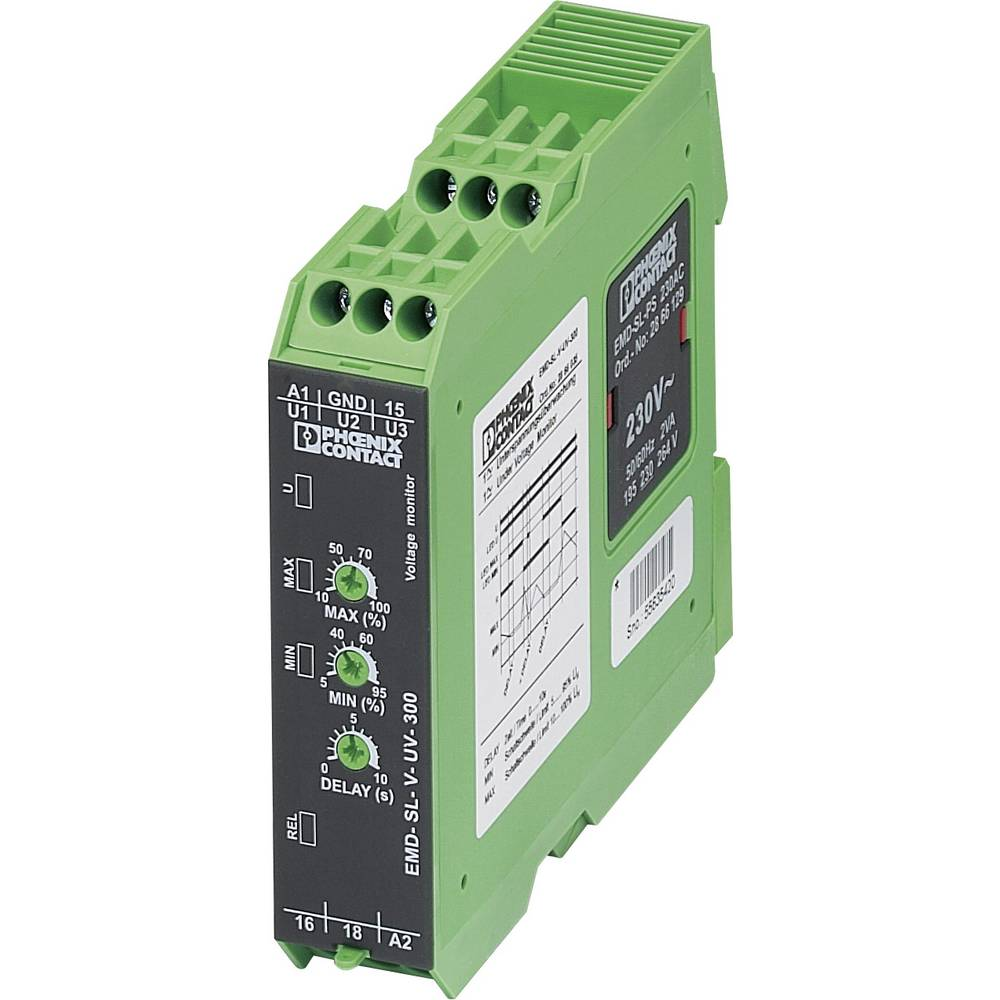 Overvågningsrelæer 1 x skiftekontakt 1 stk Phoenix Contact EMD-SL-V-UV-300 1-fase, Spænding, Underspænding