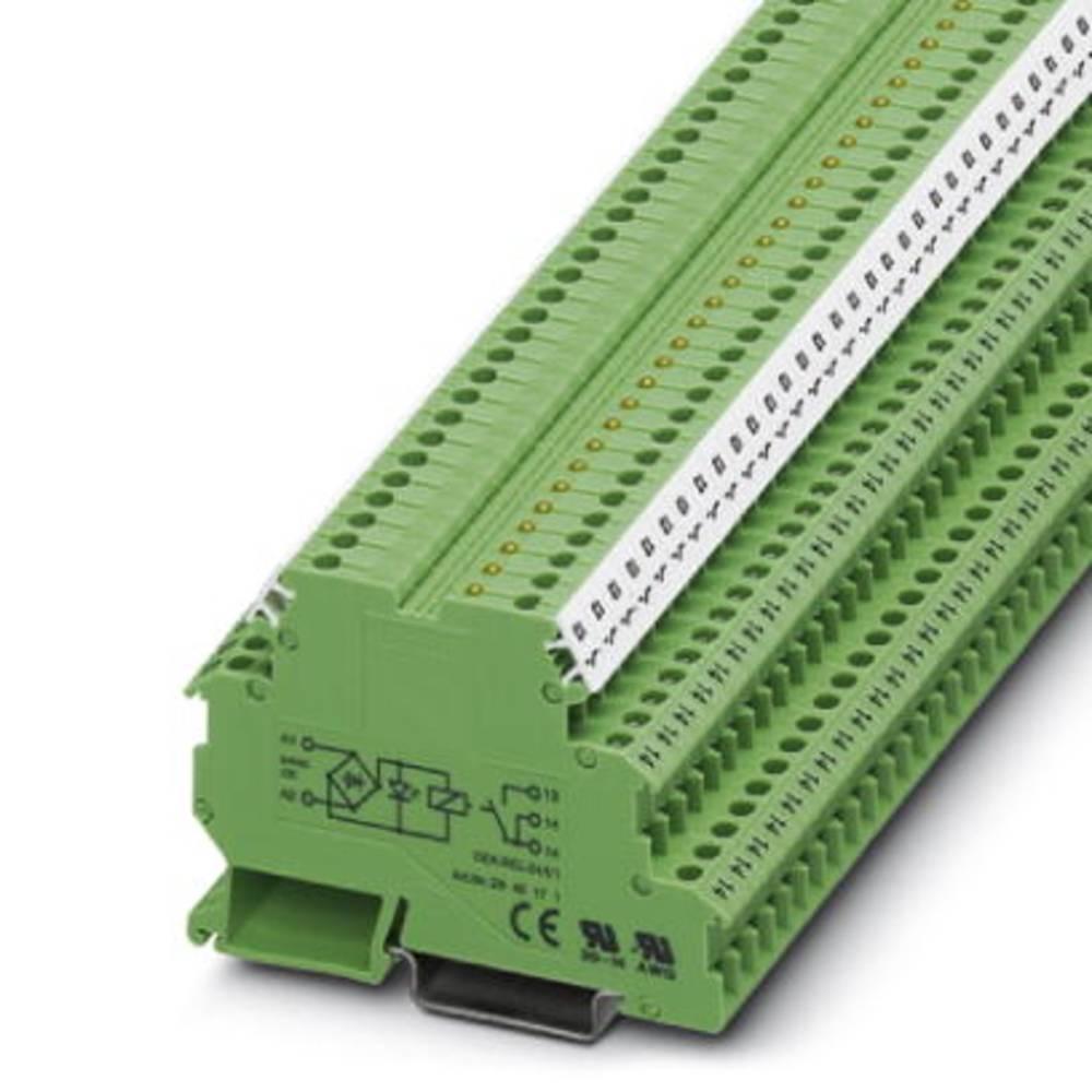 Relæklemme 10 stk Phoenix Contact DEK-REL- 24/I/1 Nominel spænding: 24 V/DC, 24 V/AC Brydestrøm (max.): 3 A 1 x sluttekontakt