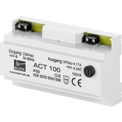 Block ACT 100 Safety transformer 1 x 230 V 1 x 24 V AC 100 VA 4.16 A