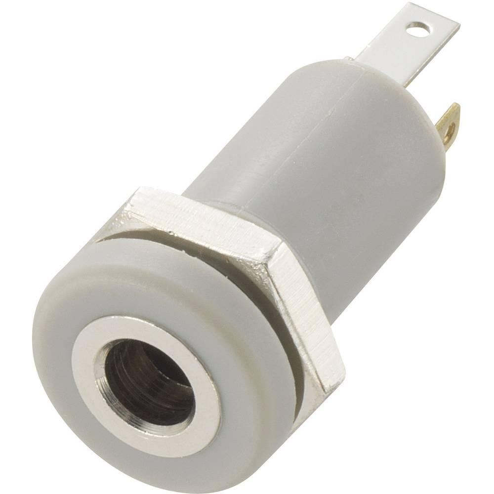 Vgradna priključna doza za JACK vtič, 3.5mm, za vertikalno vgradnjo, število polov: 4/srebrna, 1 kos