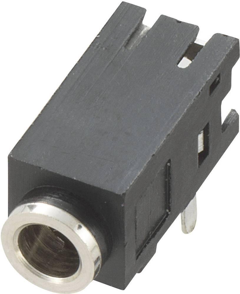 Vgradna priključna doza za JACK vtič, 2.5mm, za horizontalno vgradnjo, število polov: 3/stereo, črna, 1 kos