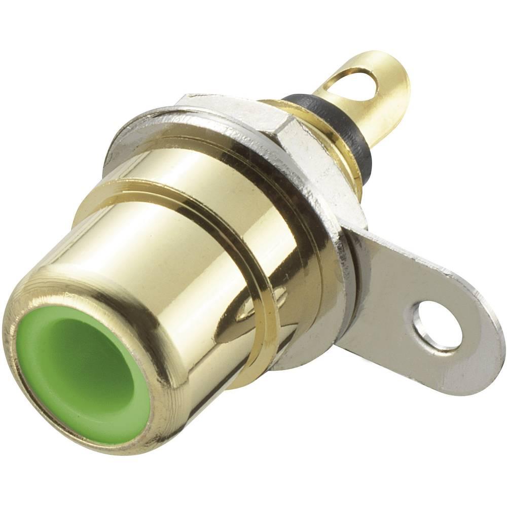 Činč konektor, vgradni, ženski, za vertikalno vgradnjo, število polov: 2, zelen, 1 kos