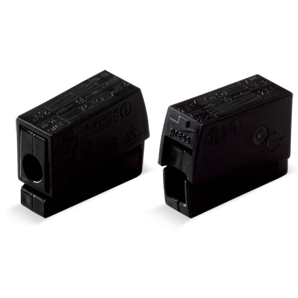Električa sponka za svetilko, prilagodljiva: 0.5-2.5 mm toga: 0.5-2.5 mm št. polov: 2 WAGO 224-104 100 kos črna