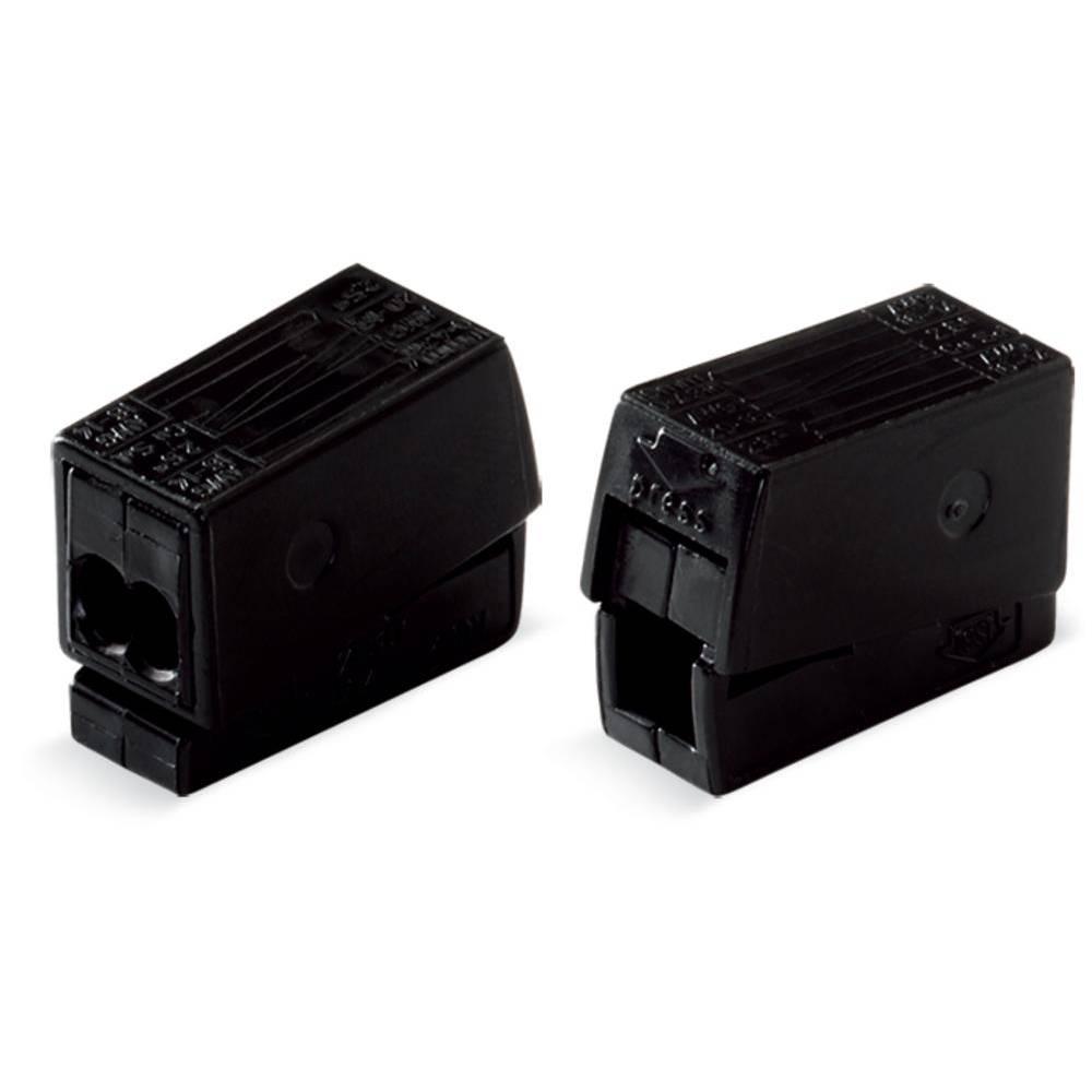 Električa sponka za svetilko, prilagodljiva: 0.5-2.5 mm toga: 0.5-2.5 mm št. polov: 2 WAGO 224-114 100 kos črna