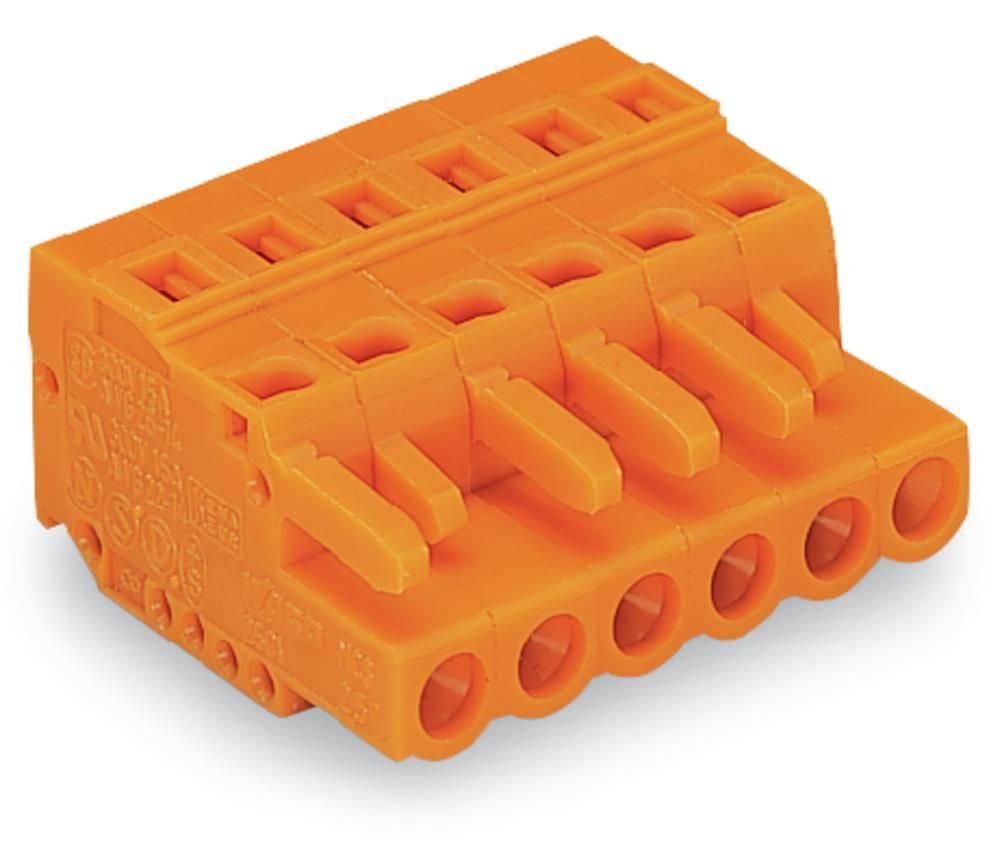 Ženski konektor oranžne barve WAGO 231-309/102-000 vsebuje: 50 kosov