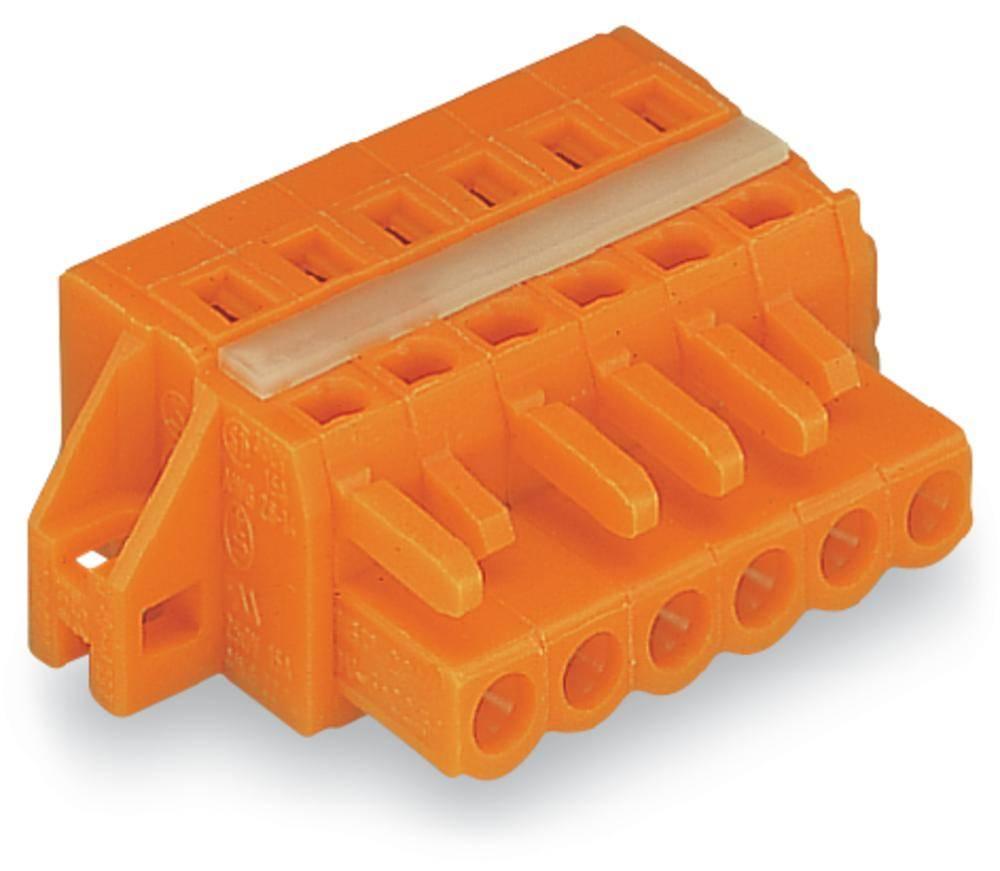 Ženski konektor oranžne barve WAGO 231-310/027-000 vsebuje: 25 kosov