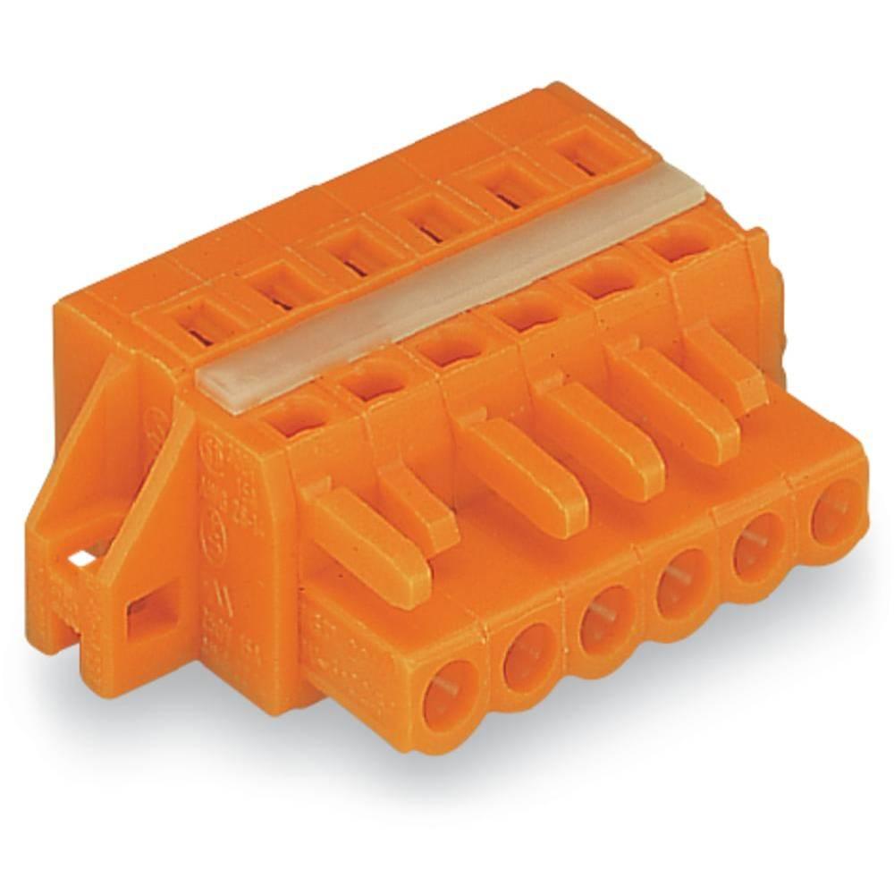 Ženski konektor oranžne barve WAGO 231-312/027-000 vsebuje: 25 kosov