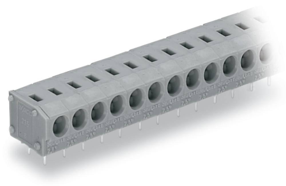 Fjederkraftsklemmeblok WAGO 1.50 mm² Poltal 16 Grå 60 stk