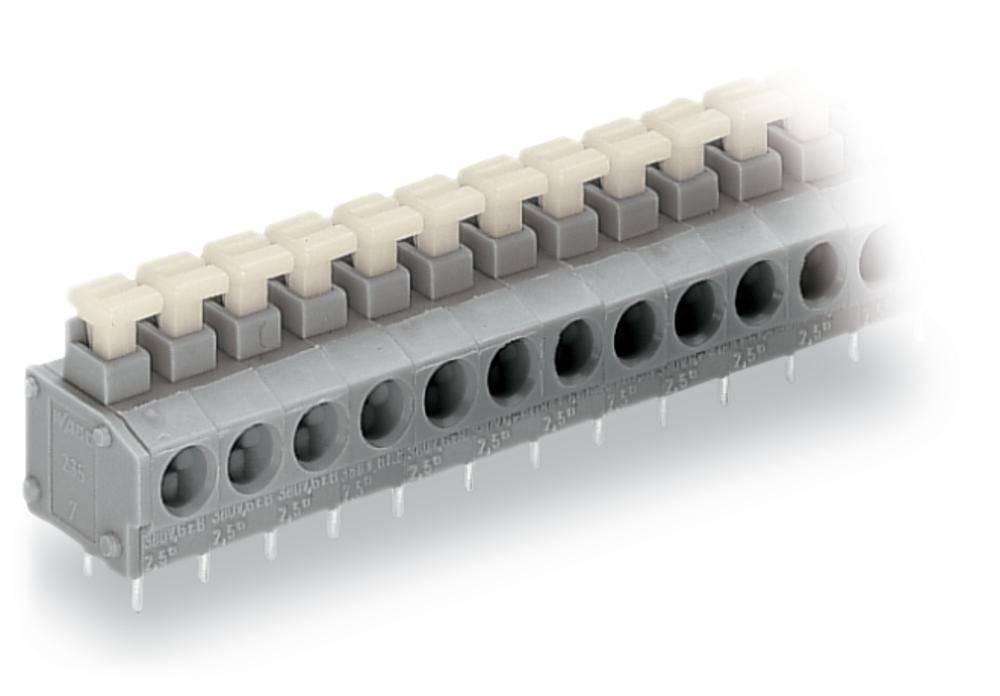 Fjederkraftsklemmeblok WAGO 0.75 mm² Poltal 10 Grå 80 stk