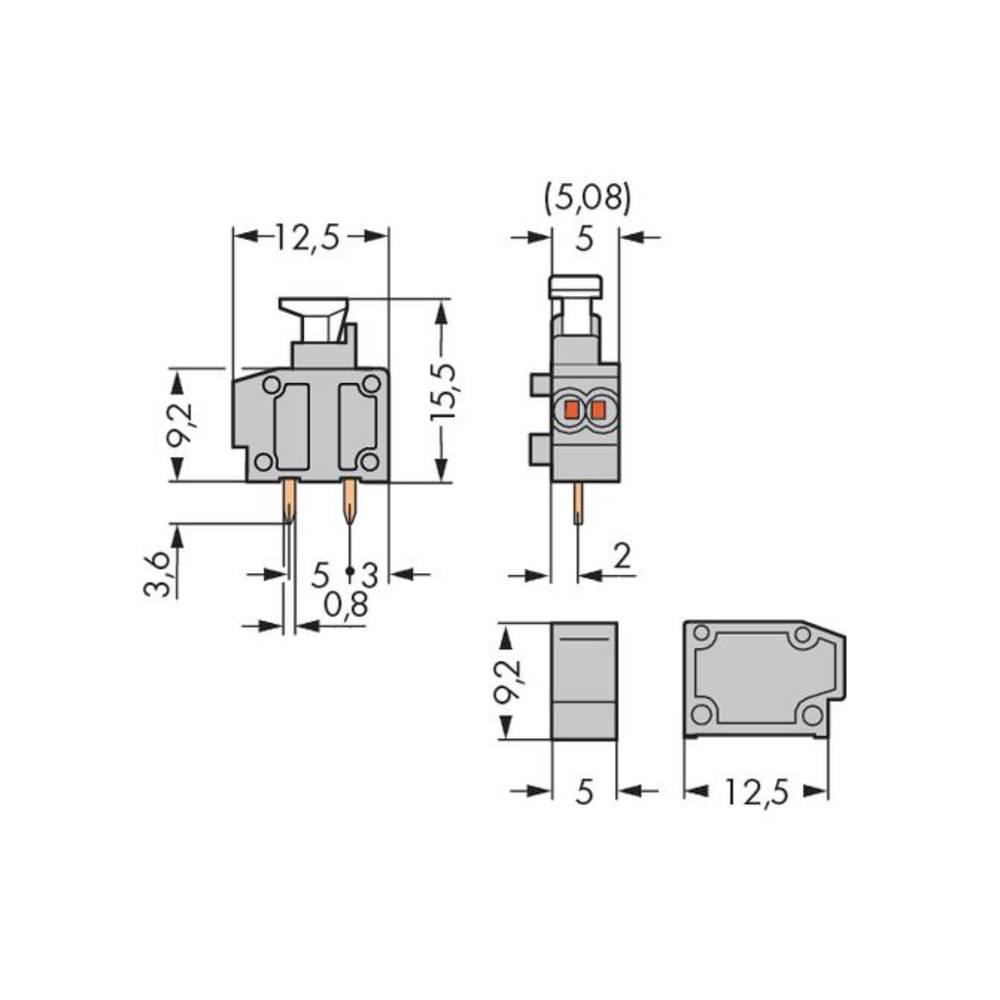 WAGO Spring-loaded terminal Number of pins 1 Dark grey 800