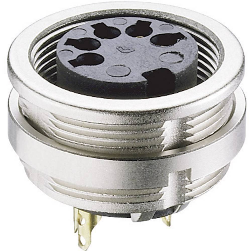 DIN-vgradni ženski konektor, vgradni vertikalni št.polov: 7 srebrn Lumberg 0304 07-1 1 kos