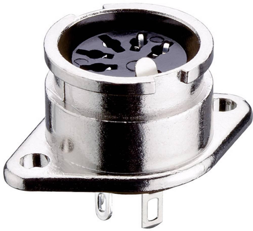 DIN- okrogli ženski konektor s prirobnico in kontakti raven št.polov: 5 srebrn Lumberg 0107 05-1 1 kos