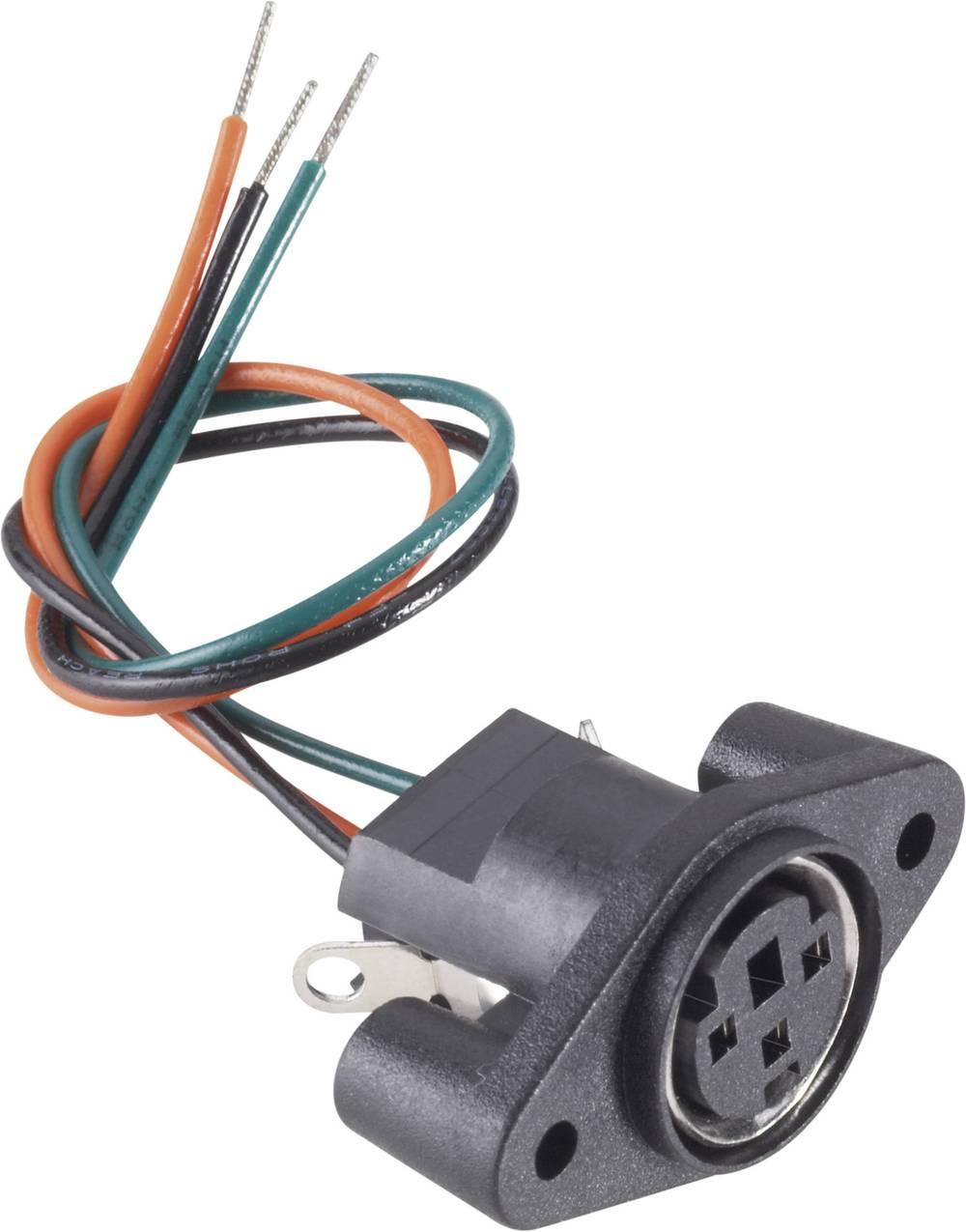 Miniaturni-DIN-okrogli ženski konektor, vgradni vertikalni št.polov: 3 črn BKL Electronic 204024 1 kos