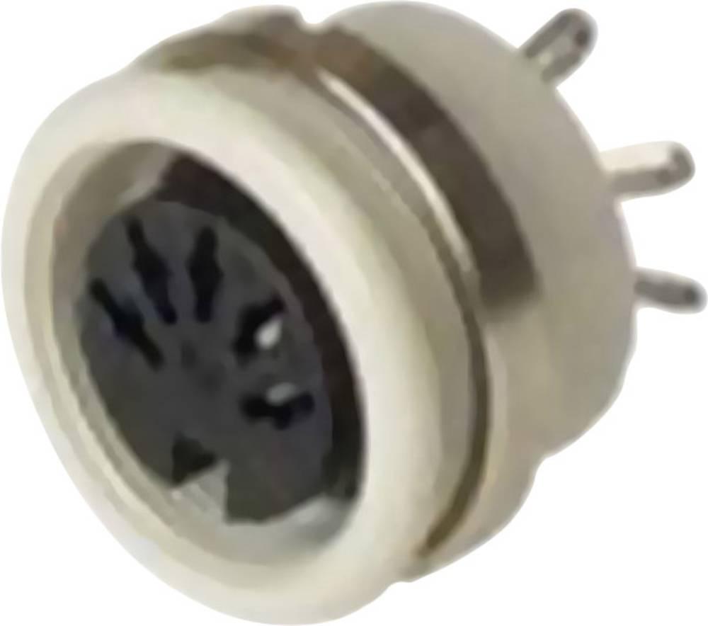 DIN-vgradni ženski konektor, vgradni vertikalni št.polov: 6 siv Hirschmann MAB 6100 1 kos