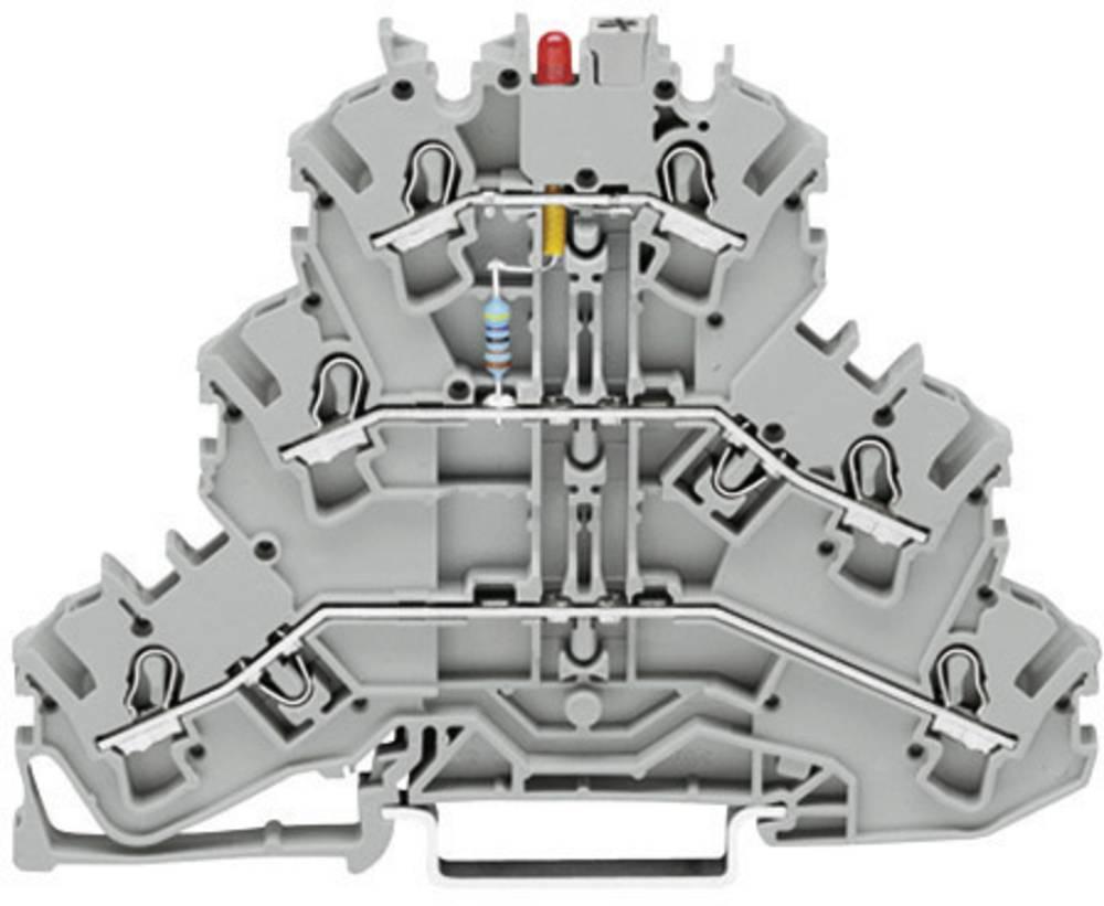 Trippel-LED-klemme 5.20 mm Trækfjeder Belægning: L Grå WAGO 2002-3221/1000-434 1 stk