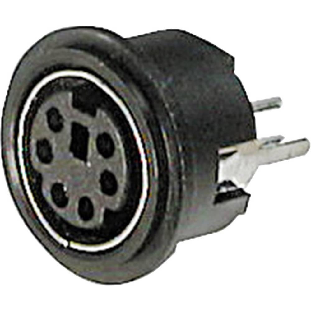 Miniaturni-DIN-okrogli ženski konektor, vgradni vertikalni št.polov: 4 črn ASSMANN WSW A-DIO-TOP/04 1 kos