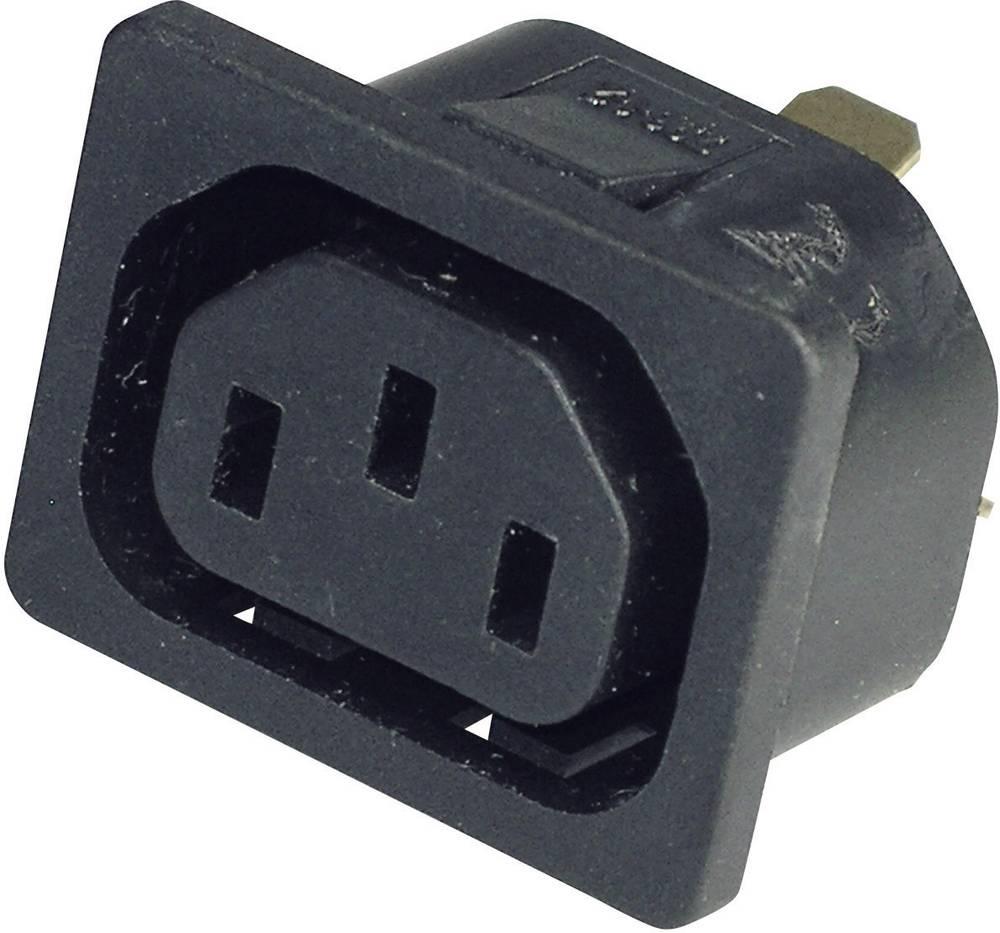 IEC-stik C13 Serie (netstik) 796 Tilslutning, indbygning lodret Samlet poltal: 2 + PE 10 A Sort Kaiser 796/10/63/sw/C 1 stk
