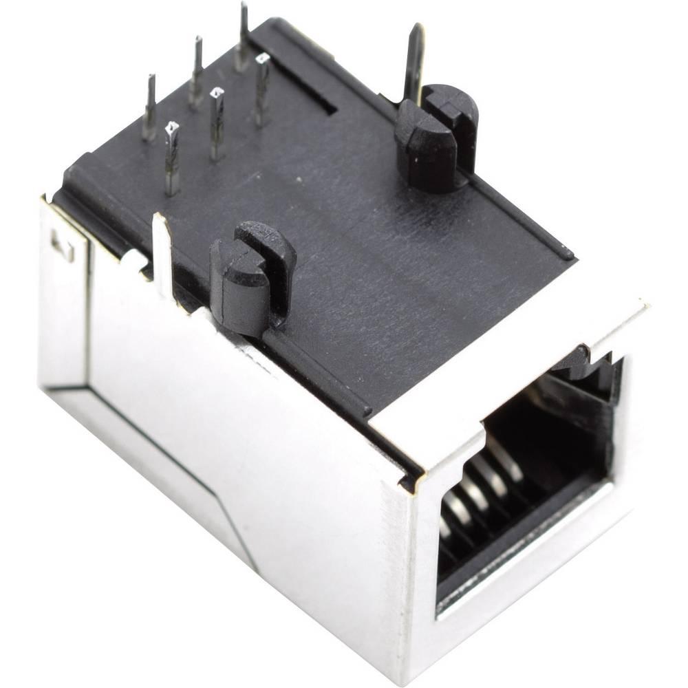 Modularna vgradna vtičnica brez zaščite vtičnica, vgradna, horizontalna, polov: 6P6C SS64600-025F ponikljan, kovinska BEL Stewar