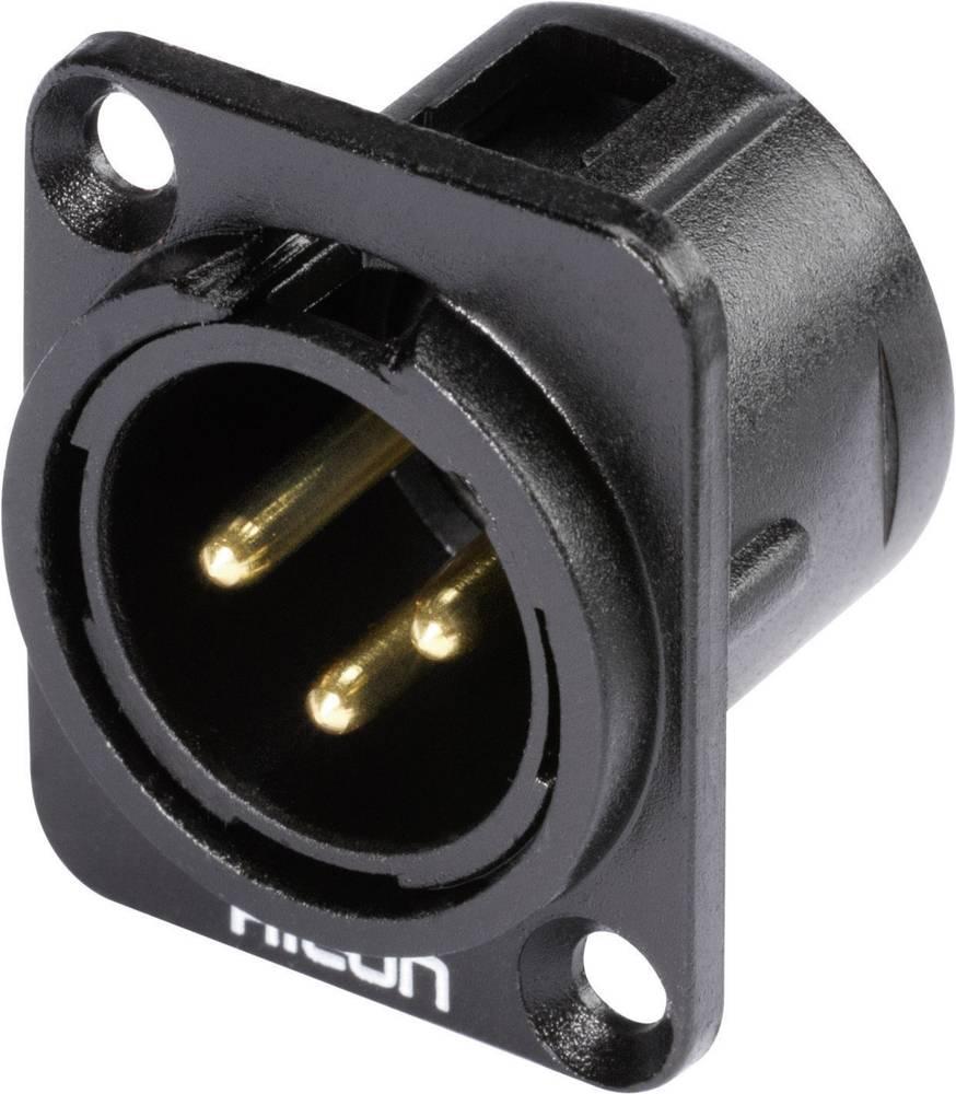 Hicon HI-X3DM-G-Konektor XLR s prirobnico, moški, število polov z ravnimi kontakti: 3, črn, 1 kos