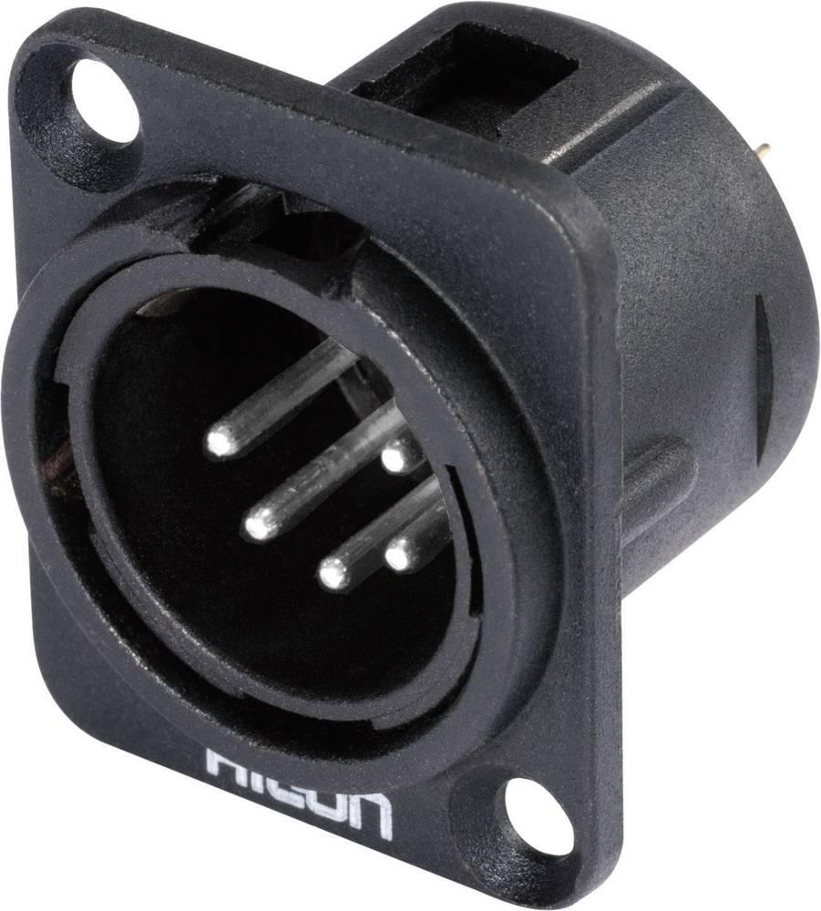 Hicon HI-X5DM-M-Konektor XLR s prirobnico, moški, število polov z ravnimi kontakti: 5, črn, 1 kos