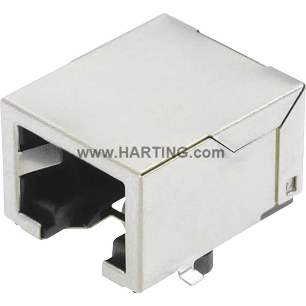 RJ45 vtičnica za direktno integracijo spone, kotna, polov: 8 Han® 3 A RJ45 Hybrid srebrne barve Harting 09 45 551 1110 1 kos