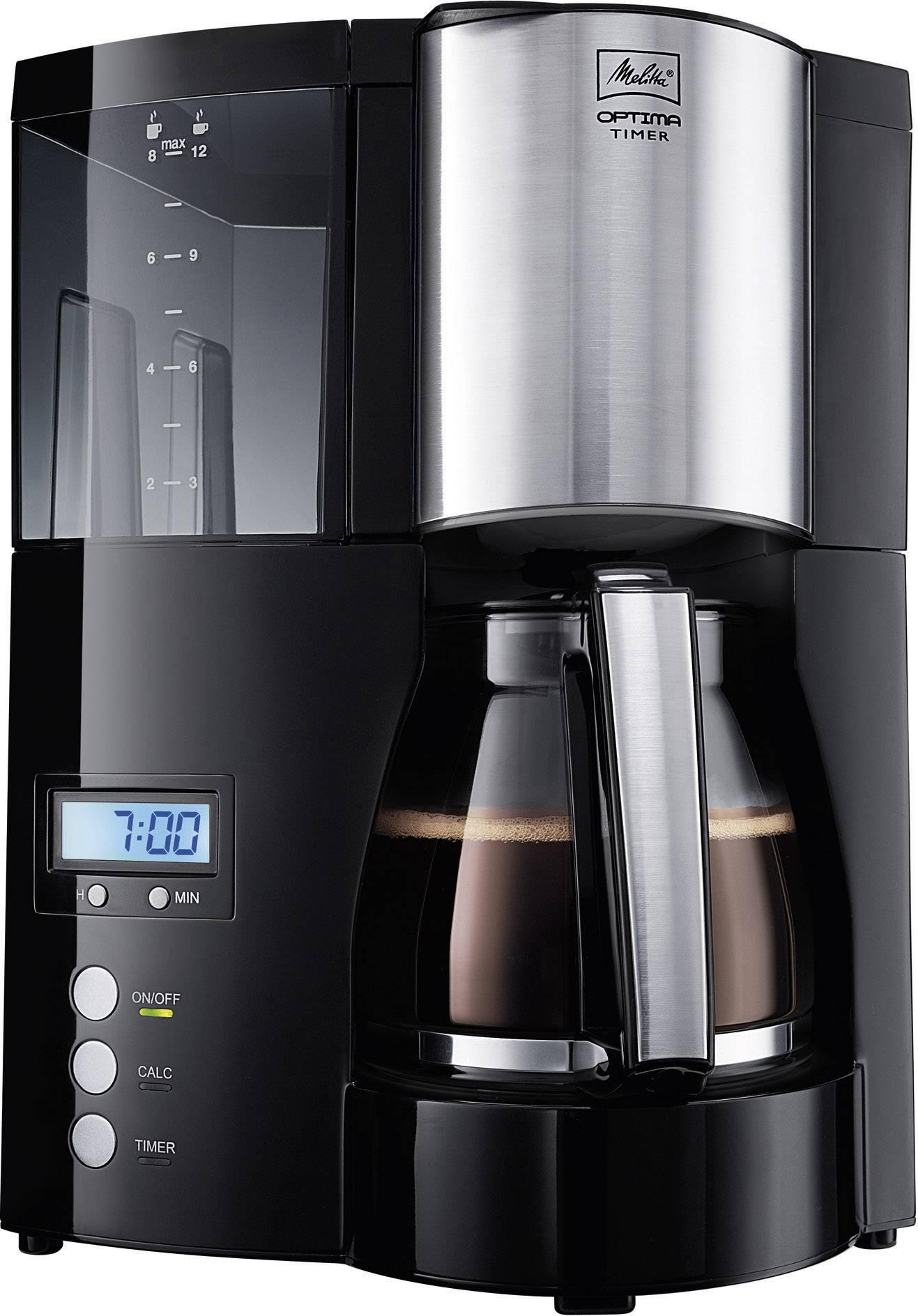 Melitta Optima Timer Black Coffee Maker Black 850 W Cup Volume12 Timer