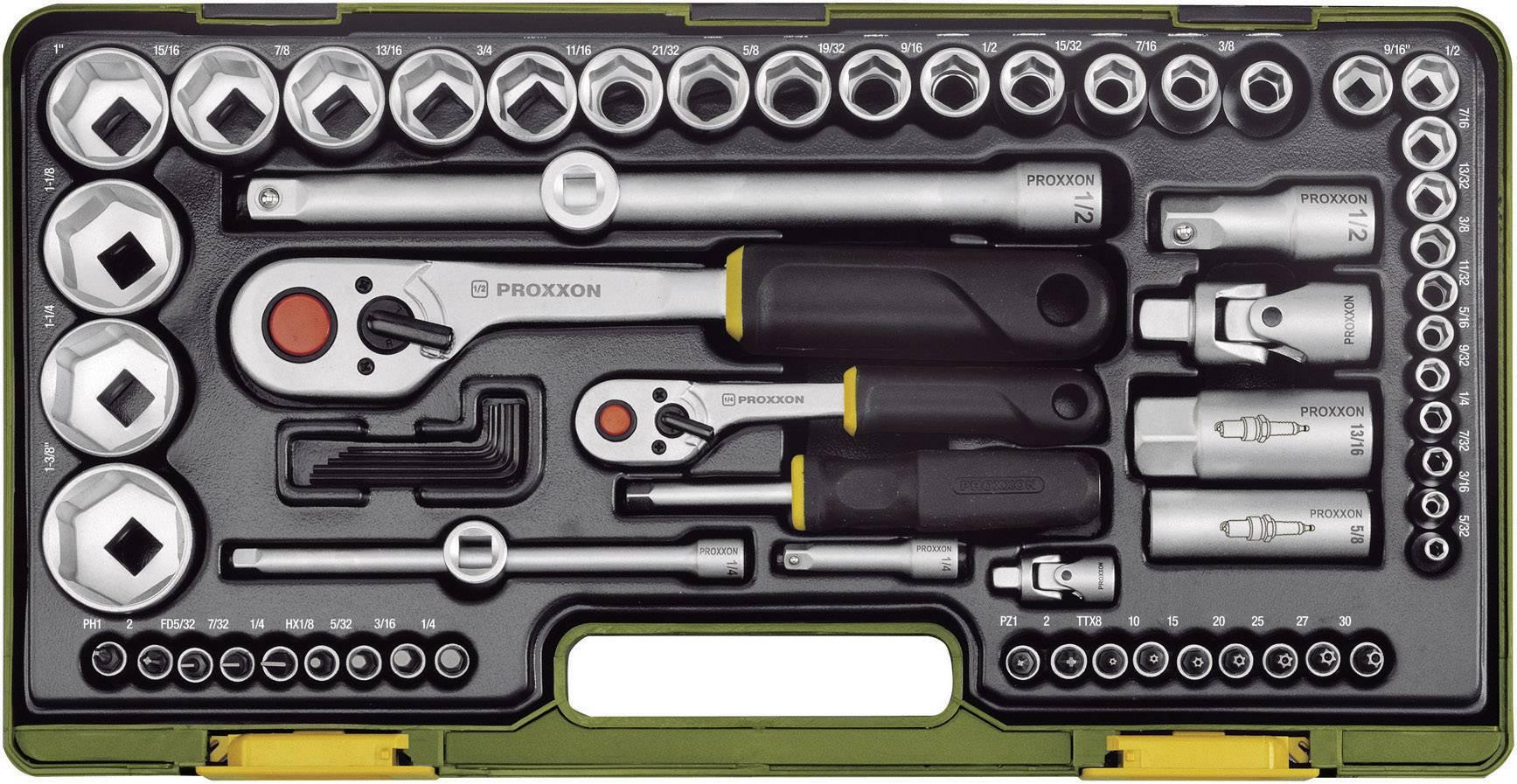 """1//4/"""" /& 1//2/"""" Proxxon 65 Piece Imperial Socket Set"""