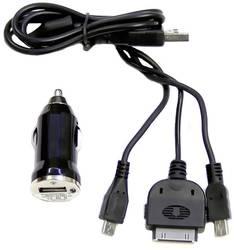 Adapter Cigarettænderstik til USB Komplett-Ladesystem 3in1 12/24 V til 5 V, 5 V via USB 1 A