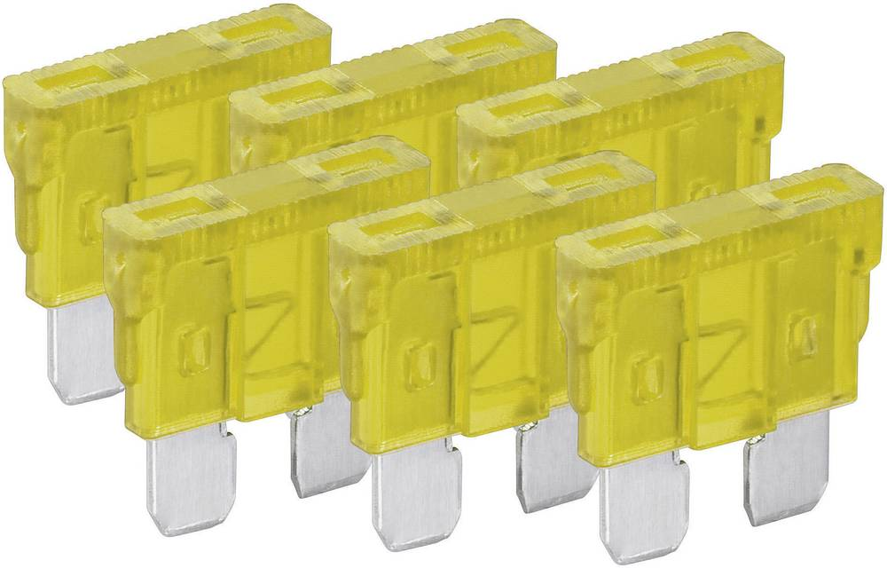 Standard fladsikring 20 A Gul FixPoint 20384 6 stk