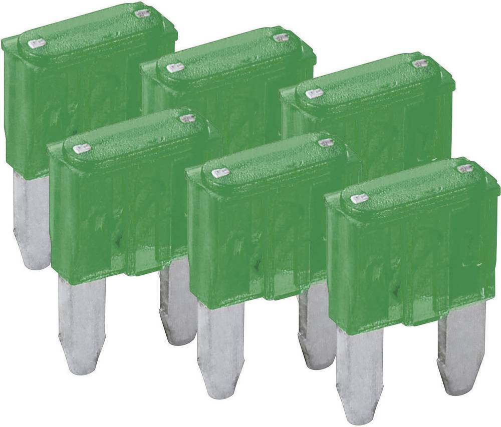 Mini fladsikring 30 A Grøn FixPoint SORTIMENT 1027-30A KFZM-Sicherung 6 tlg. 20393 6 stk