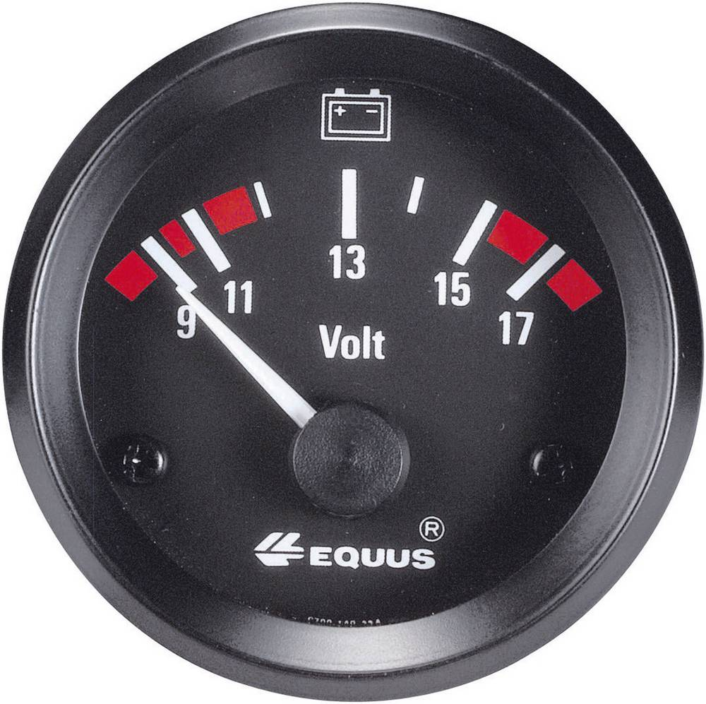 Bil indbygningsinstrument Voltmeter måleområde 9 - 17 V Equus 842060 Standard Gul, Rød, Grøn 52 mm