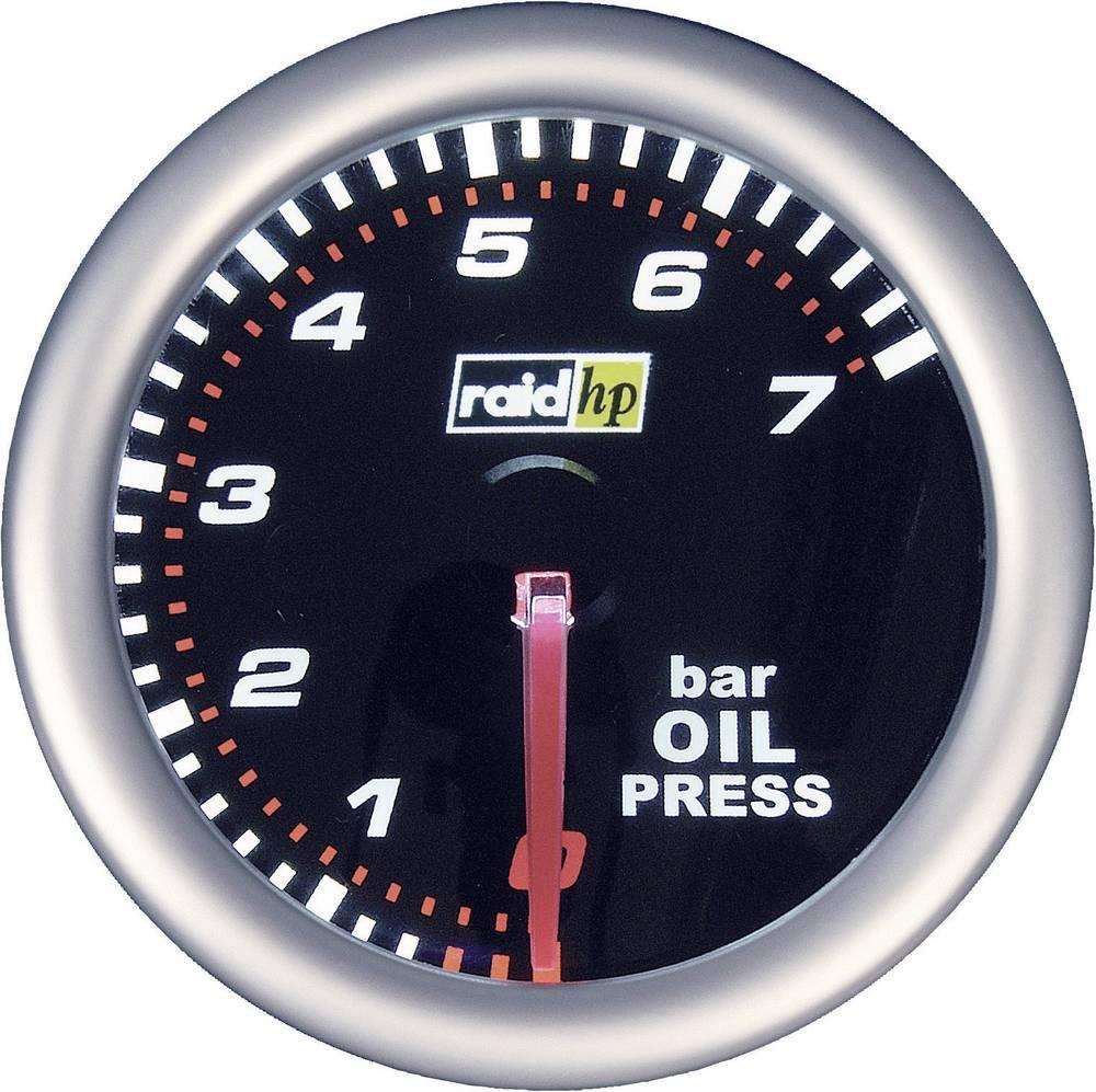 Bil indbygningsinstrument Olietryk-visning måleområde 7 - 0 bar raid hp 660241 NightFlight Hvid, Rød 52 mm