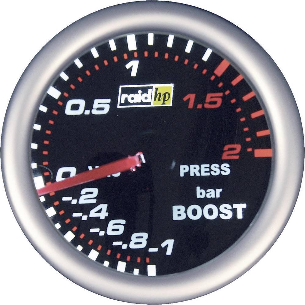 Bil indbygningsinstrument Turbotryk-visning måleområde -1 - 2 bar raid hp 660243 NightFlight Hvid, Rød 52 mm